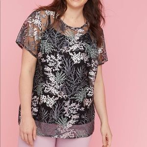 Lane Bryant embroidered mesh top 26/28 NWT